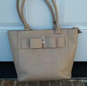 ANTIK KRAFT Bow Tote Shoulder Handbag Purse Blush